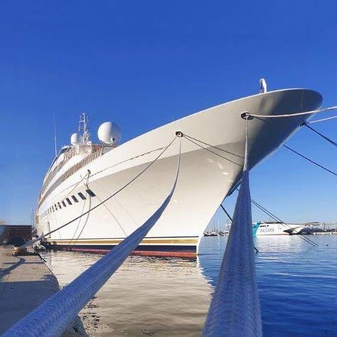 The 105m M/Y Lady Moura is currently moored at MARINA PORT DENIA (Alicante - SPAIN)